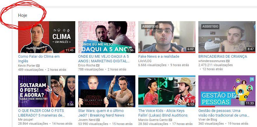 Vídeos de hoje no Youtube